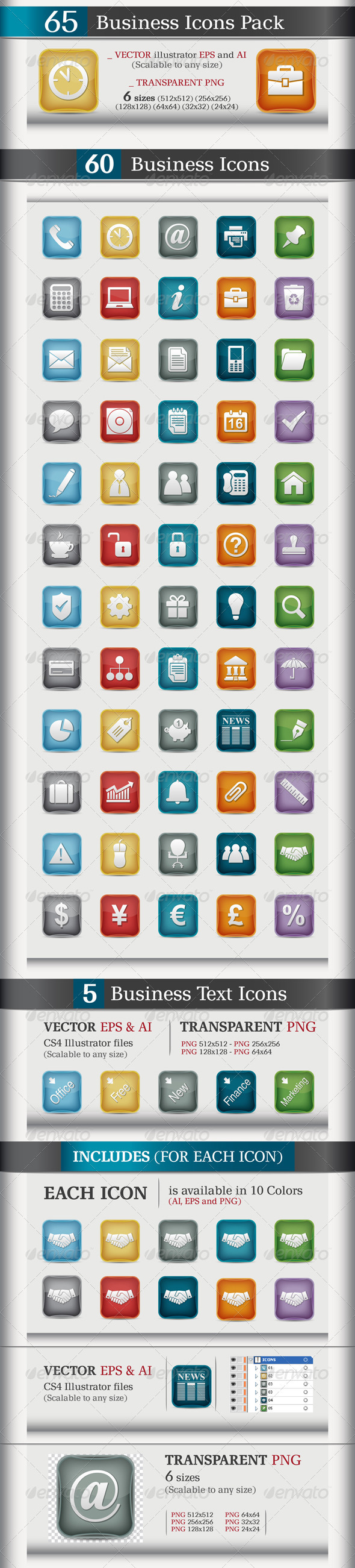 65 Business Icons Pack - Business Icons