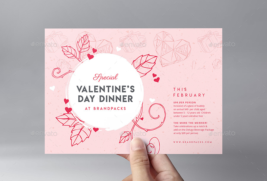Valentine S Day Menu Flyer By Brandpacks Graphicriver