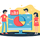 Flat Team Works on Project with Help of Analytics - GraphicRiver Item for Sale