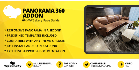 Panorama 360 Addon for WPBakery Page Builder (formerly Visual Composer) - CodeCanyon Item for Sale