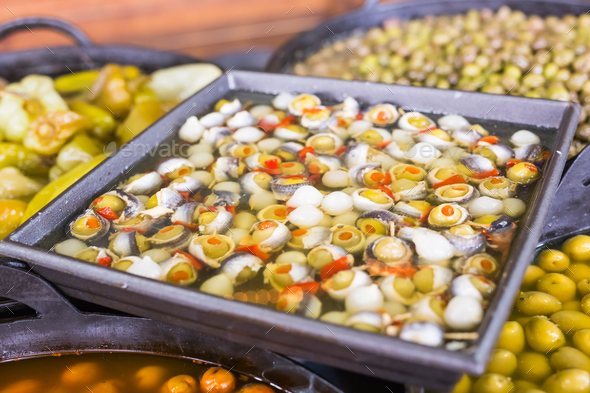 Olives stuffed with fish and anchovies - Stock Photo - Images