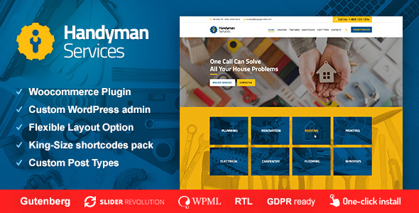 Handyman Services - Construction & Renovation WordPress Theme