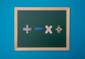 Green chalkboard with wooden frame, colorful math operation signs - PhotoDune Item for Sale