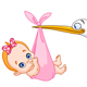 Stork and Baby Girl - GraphicRiver Item for Sale