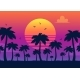 Vector Purple Sunset on Palm Icons Backdrop - GraphicRiver Item for Sale