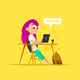 Girl Character Sit in Classroom - GraphicRiver Item for Sale