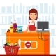 Woman Cashier in Supermarket with Snack Products - GraphicRiver Item for Sale