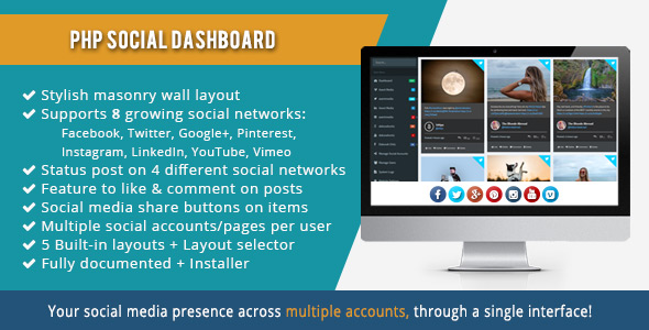 PHP Social Dashboard - CodeCanyon Item for Sale