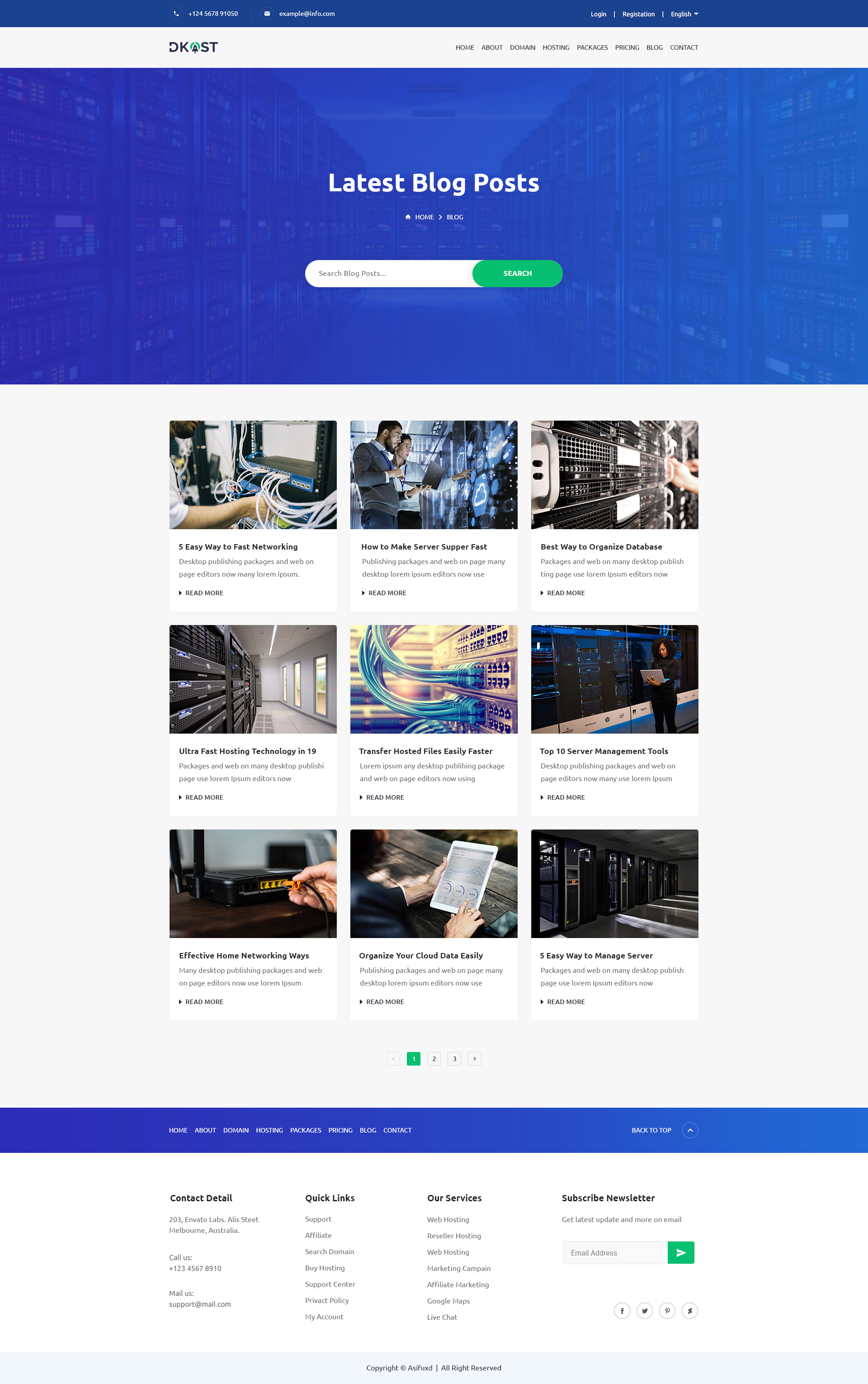 Dkost - Domain and Hosting PSD Template