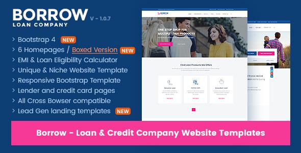 Borrow Loan Company Responsive Website Templates By Jitu ThemeForest