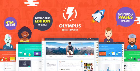 Olympus HTML Social Network Toolkit By Crumina ThemeForest