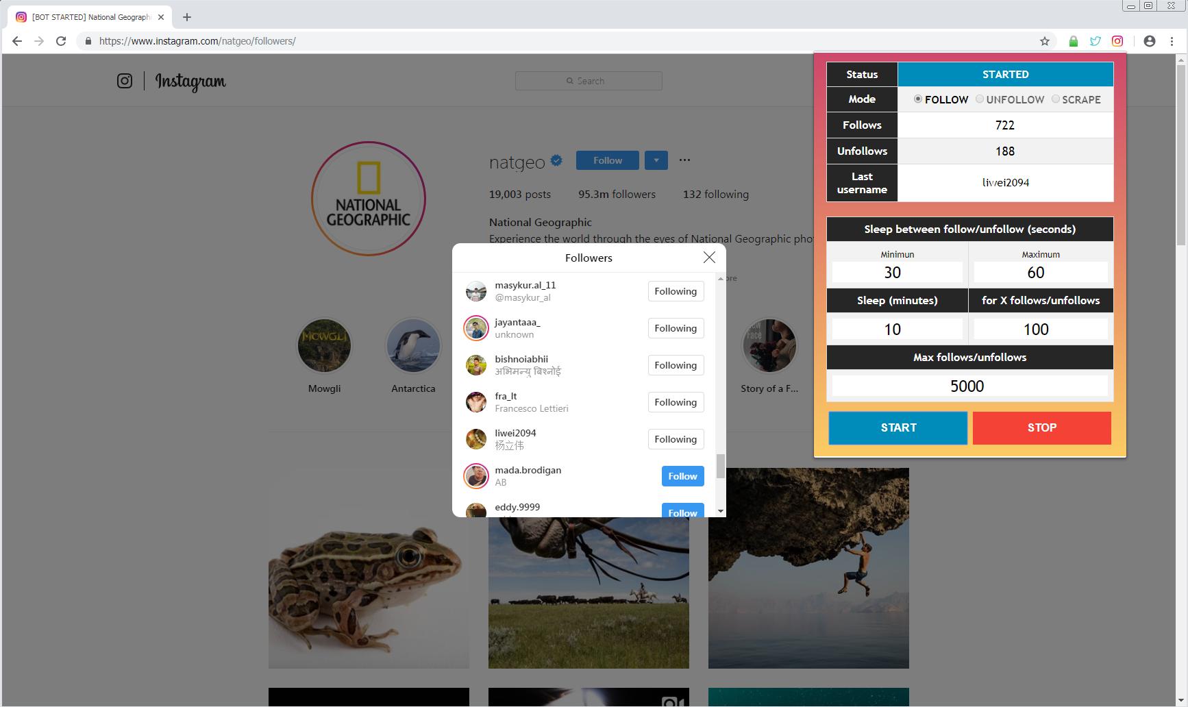 Instagram Auto Follow/Unfollow/Scraper - Chrome Extension
