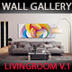 Art Wall Gallery Mockup vol.2 - Frontal View Living Room - GraphicRiver Item for Sale