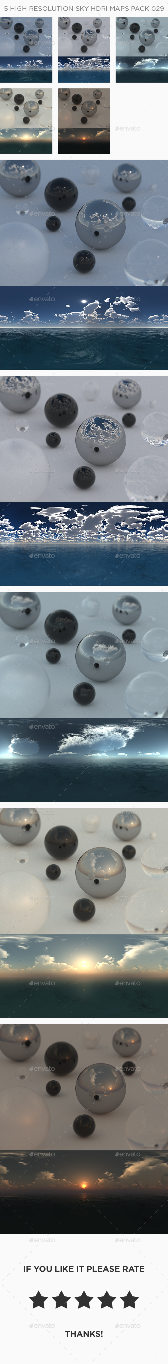5 High Resolution Sky HDRi Maps Pack 029 - 3DOcean Item for Sale