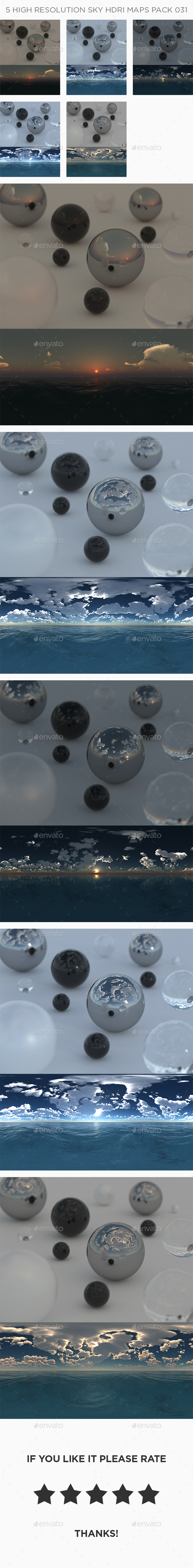5 High Resolution Sky HDRi Maps Pack 031 - 3DOcean Item for Sale