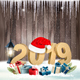 Happy New Year 2019 Background With Presents and Santa Hat. Vector. - GraphicRiver Item for Sale
