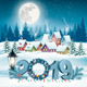 Holiday Christmas Background with 2019 and Winter Village - GraphicRiver Item for Sale