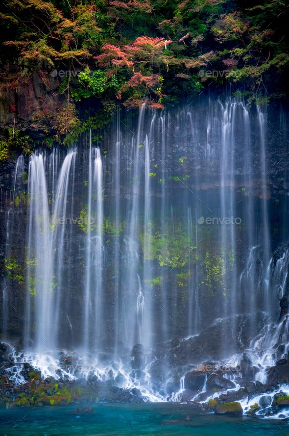 Shiraito waterfall in Autumn, Japan - Stock Photo - Images