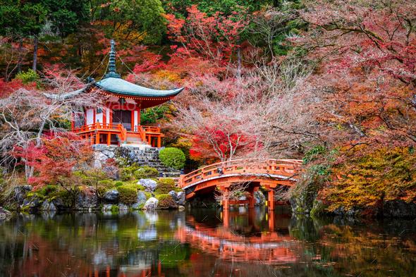 Daigoji Temple in Autumn, Kyoto, Japan - Stock Photo - Images