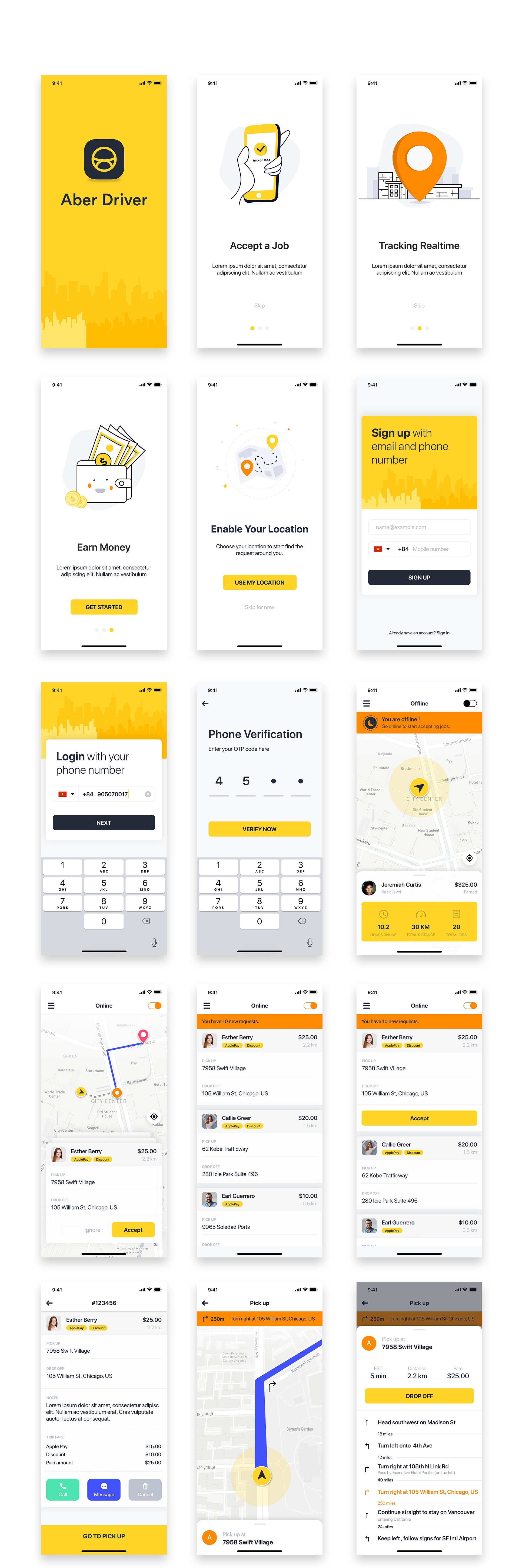 ABER Driver - Taxi UI Kit for Mobile App