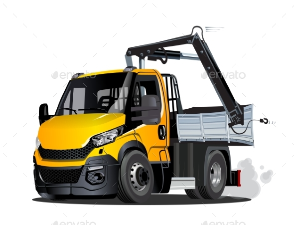Vector Cartoon LKW Truck with Crane Isolated