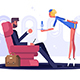 Man in Suit Flying on Plane in Business Class - GraphicRiver Item for Sale