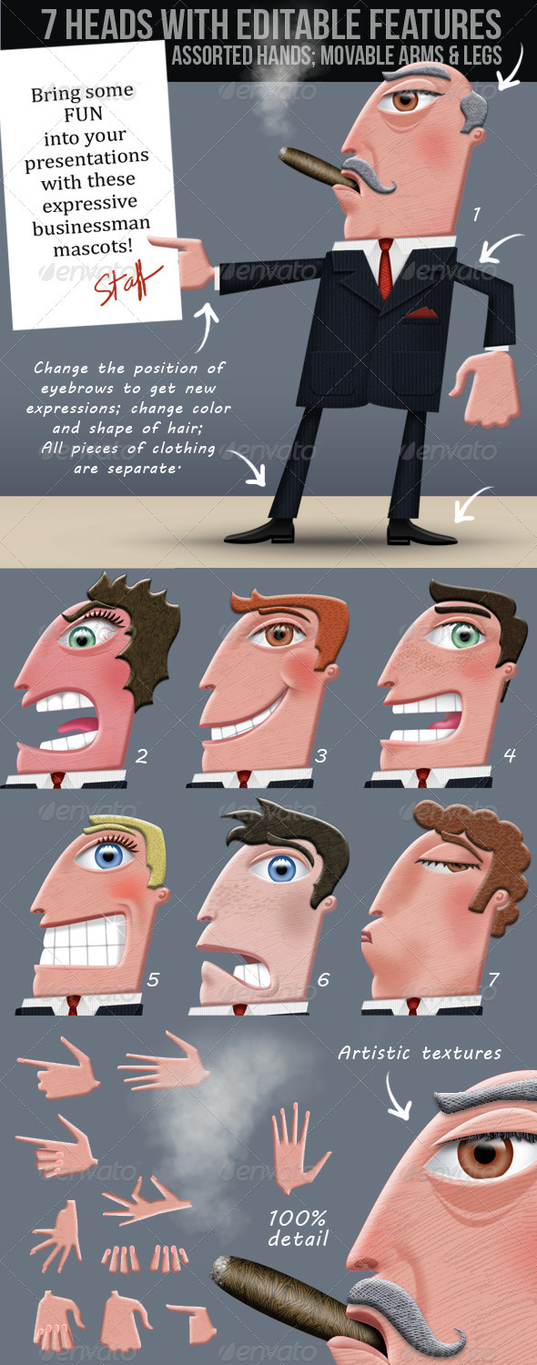 Business Man; Editable Illustrated Cartoon - Business Illustrations
