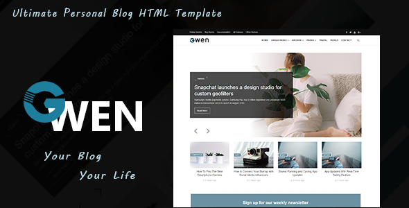 Gwen Ultimate Html Blog Template By Rose B Themeforest