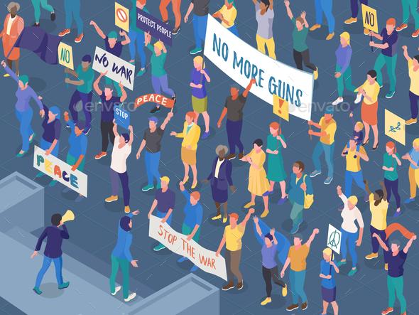 Protesting People Isometric Horizontal Illustration