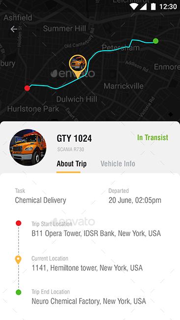 Truck Tracking App + Driver App UI Kit | 23 + 15 Screens