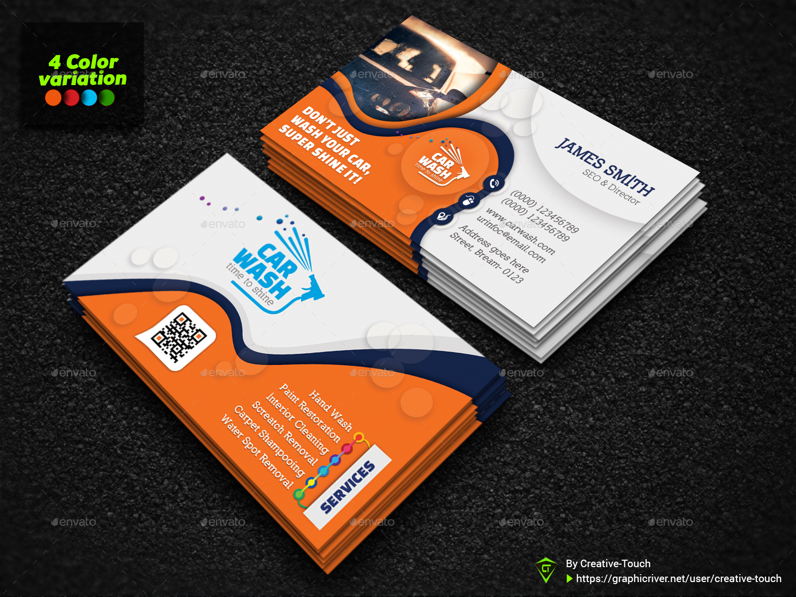 Car Wash Business Card By Creative Touch Graphicriver