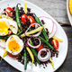 Riceberry with Soft boiled egg,Green bean,Radish and Cherry tomato - PhotoDune Item for Sale