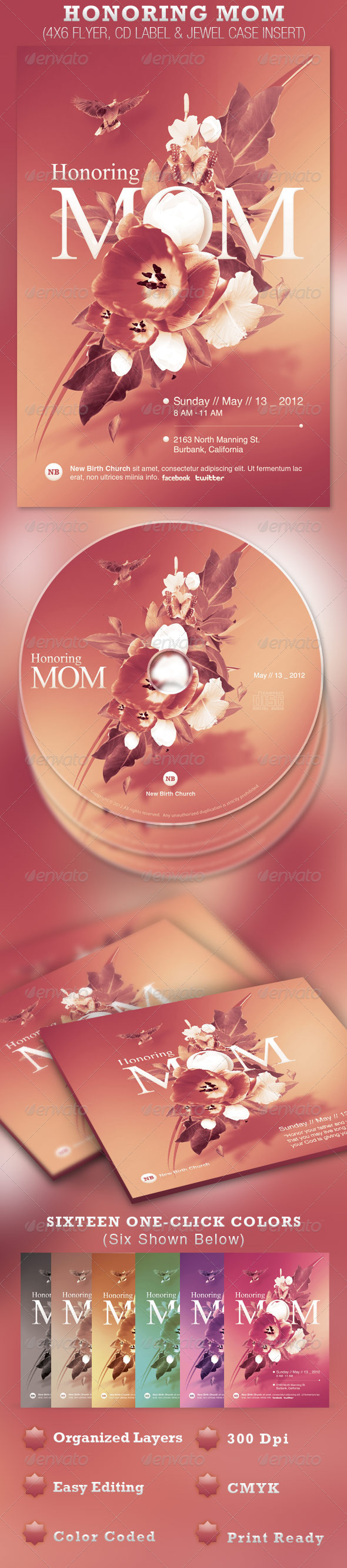 Honoring Mom Church Flyer and CD Template - Church Flyers