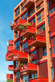 Modern red apartment house with many balconies - PhotoDune Item for Sale
