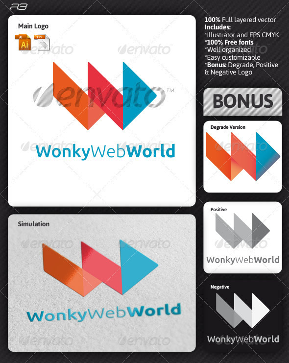 Wonky Web World Logo - Letters Logo Templates