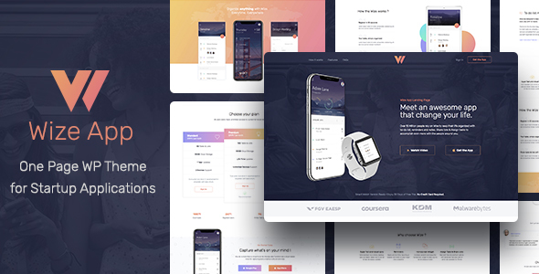 WizeApp – One Page App Landing WordPress Theme Free Download