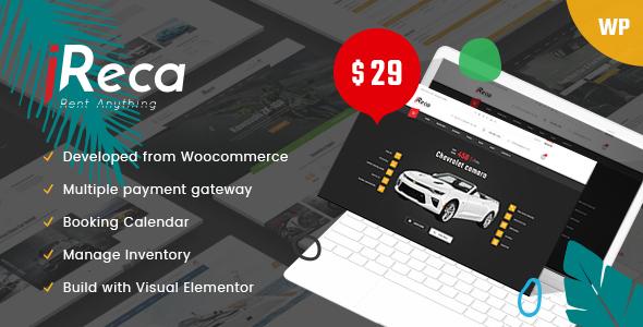 Ireca - Car Rental Boat, Bike, Vehicle, Calendar WordPress Theme - Business Corporate