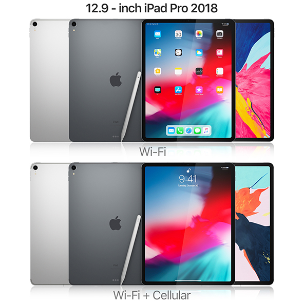 Apple iPad Pro 12.9 inch 2018 and New Apple Pencil - 3DOcean Item for Sale