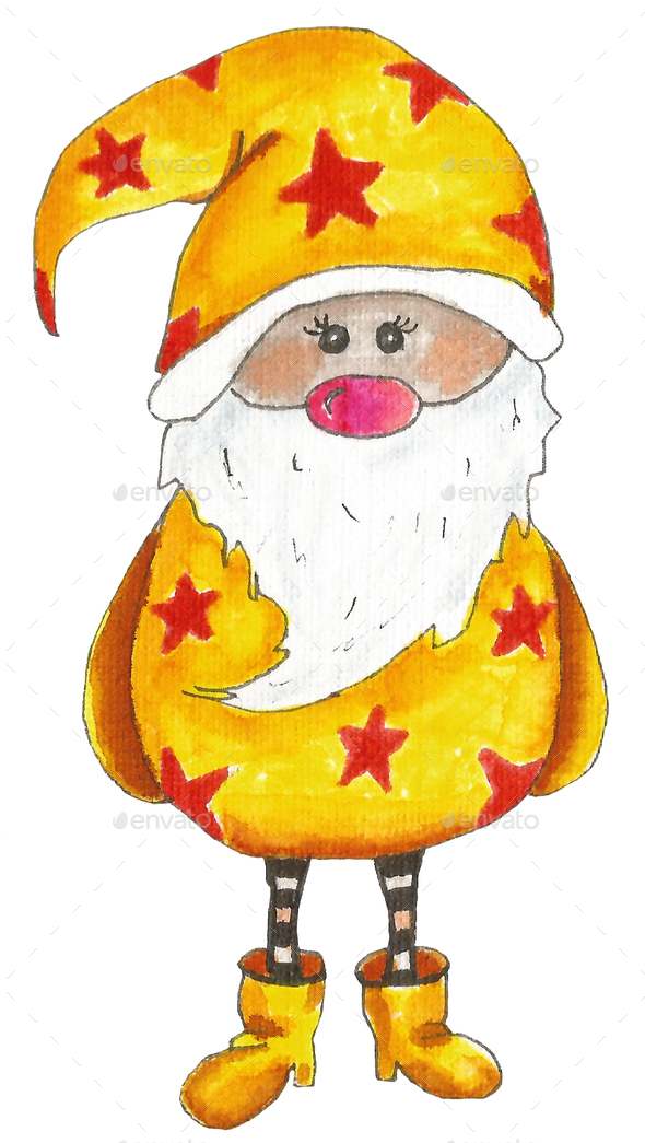 Watercolor scandinavian winter elf in yellow isolated on white - Stock Photo - Images