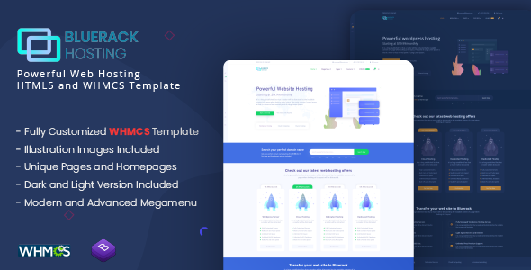 Bluerack - Professional Hosting Template with WHMCS