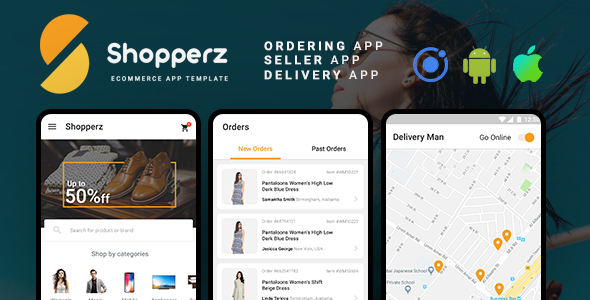 Shopperz Ecommerce Android + iOS App Template (HTML + CSS files in IONIC 3) - CodeCanyon Item for Sale