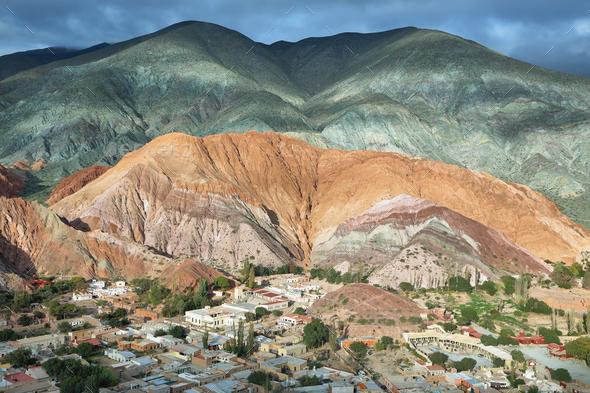 Multicolored mountains known as Cerro de los 7 colores - Stock Photo - Images