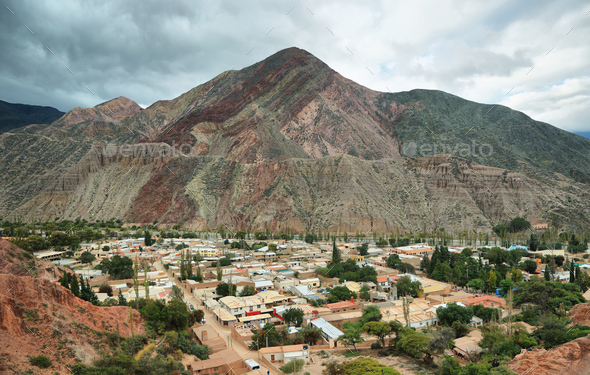 Red-colored mountain in Purmamarca - Stock Photo - Images