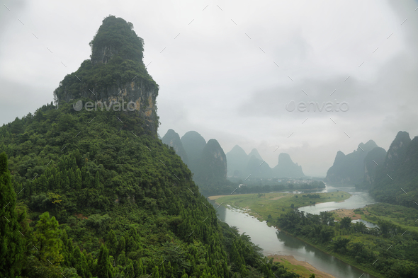 Karst mountains around Li river from Tangjiao nunnery - Stock Photo - Images