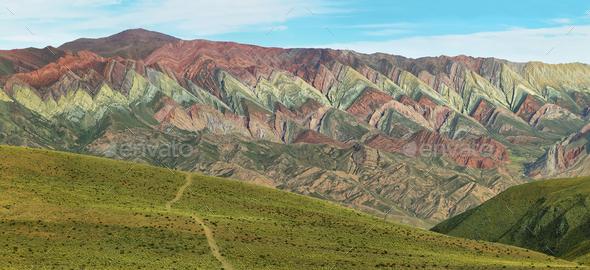Multicolored mountain known as Serrania del Hornoca - Stock Photo - Images