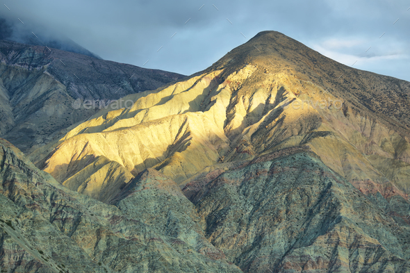 Multicolored mountain neat Purmamarca - Stock Photo - Images