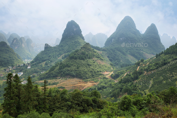 Karst mountains around Yangshuo - Stock Photo - Images
