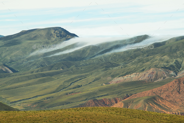 Clouds over valley near place known as Serrania del Hornocal - Stock Photo - Images