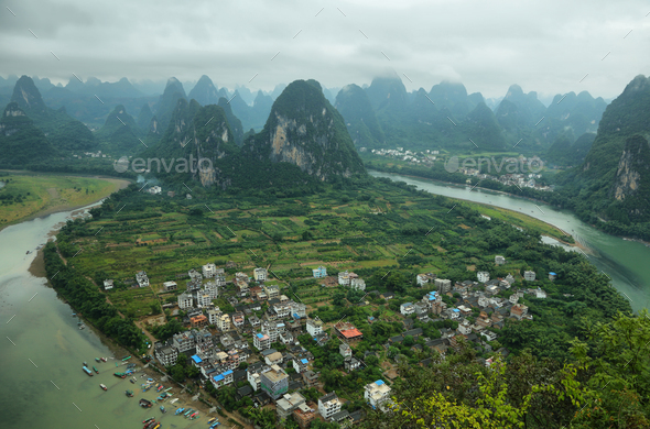 Karst mountains around Li river from Xiangong hill - Stock Photo - Images