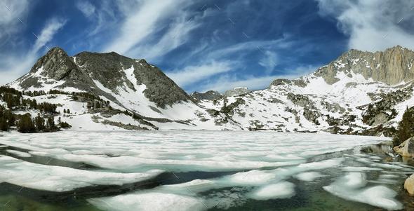 Iced Ruby lake, California - Stock Photo - Images
